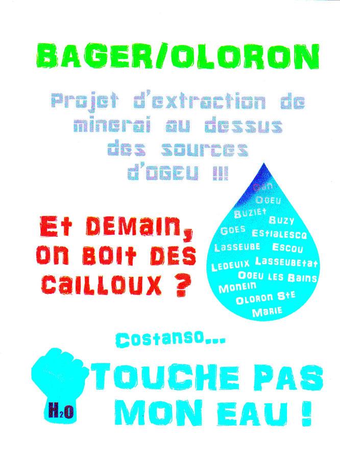 Un flyer réalisé par le groupe de défense des EAUX d'Ogeu-Les-Bains. NON ! Désormais, OGEU-LES-MINES ( ACCOB-Ossau)