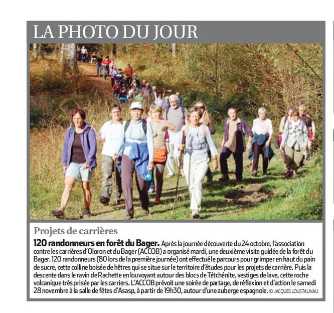 Manifestation réussie pour la protection de la forêt du Bager d'Oloron du 17 novembre 2015