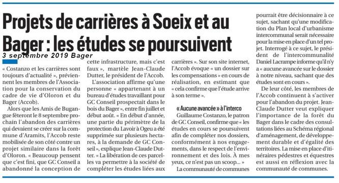 La République des Pyrénées informe la population du Haut Béarn en particulier sur la poursuite des études de carrières dans la forêt du Bager d'Oloron. L'association ACCOB est en alerte et reste très vigilante.