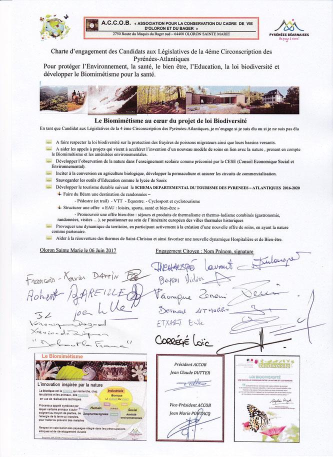 Législatives à Oloron - Charte présentée par l'ACCOB aux candidats pour la signer - 10 pour les projets Accob - 3 pour les carrières ?