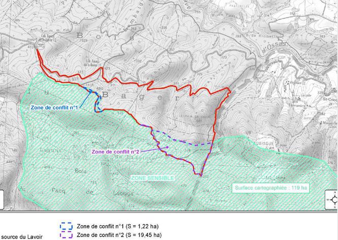 21 hectares de protection des eaux d'Ogeu supprimées au bénéfice de projets de carrières dans la forêt du Bager avec les risques connus liés à l'extractivisme.