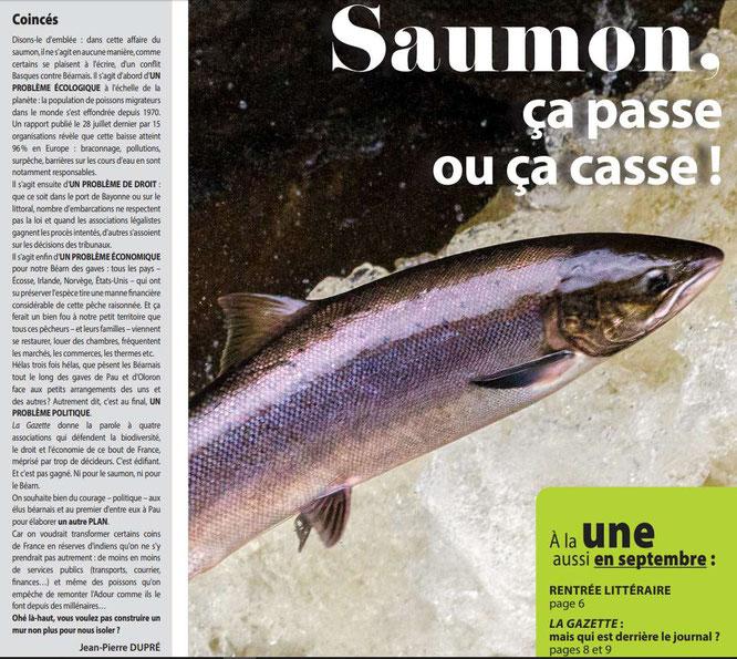 Jean Pierre DUPRE replace le saumon en première sur la Gazette du Béarn des Gaves.