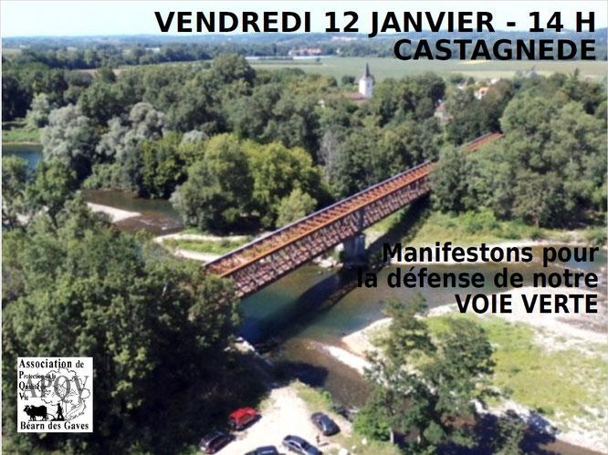 Manifestation pour défense voie verte à Castagnède-L'ACCOB se joint à cet appel.