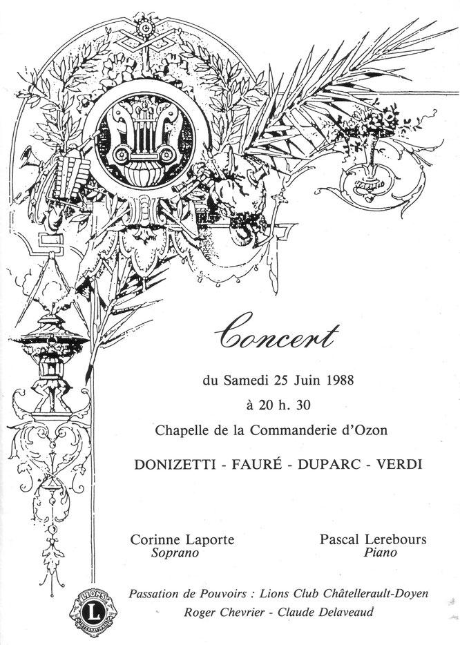 Invitation concert C. Laporte et P. Lerebours 25 juin 1988