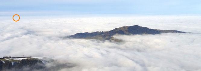 ... und manchmal vereitelt der Nebel den Blick zurück an der Hundwiler Höhe vorbei zum Napoleonturm