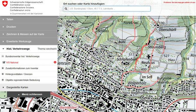 www.map.geo.admin.ch; Autor: ViaStoria/Universität Bern im Auftrag des Bundesamts für Strassen ASTRA