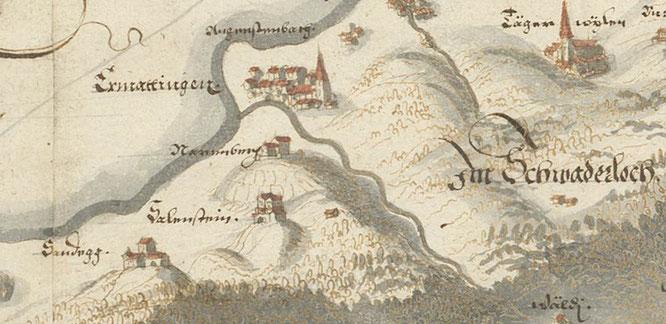 der Narrenberg um 1630 - Karte von Hans Conrad Gyger - Zentralbibliothek ZH