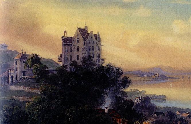 Schloss Salenstein 1859, Temperagemälde E. Federle, BD Salenstein (Schloss) 21