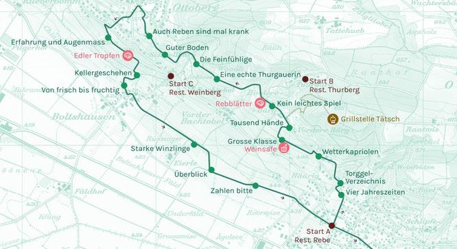 der Streckenverlauf des Weinfelder Weinweges