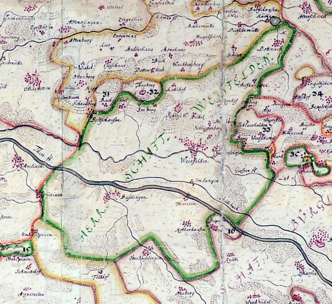 """um 1717 ist Weinfelden doch schon merklich gewachsen - Ausschnitt aus der Karte """"Landgrafschaften im Kanton Thurgau 1717"""" im Historischen Museum Frauenfeld"""