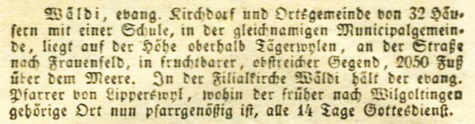 Beschreibung Wäldis; J.A. Pupikofer, der Kanton Thurgau, 1837