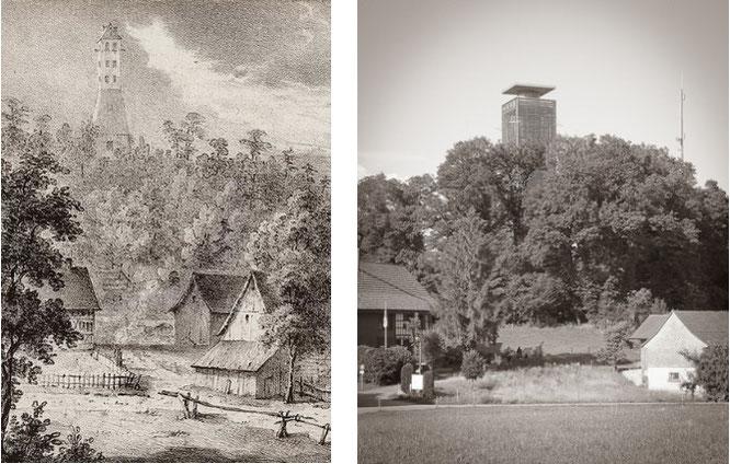 """der historische Aussichtsturm """"Belvédère"""" und der heutige Napoleonturm im Vergleich"""