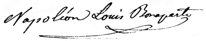 Unterschrift Louis Napoleons unter einen Brief an Thomas Bornhauser