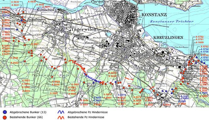 Festungsgürtel um Kreuzlingen. Karte aus www.festungsguertel.ch