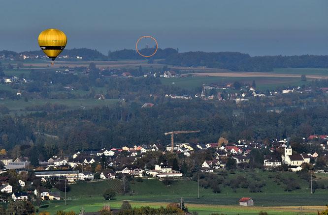"""der """"Blick zurück"""" vom Wellenberg über Wigoltingen und das Conny-Land zum Napoleonturm"""