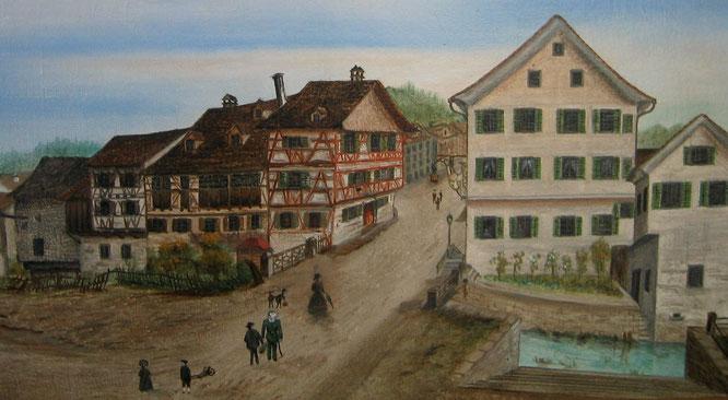 Dieses Bild zeigt die Situation vor 1871. Die Schifflände befand sich unterhalb dieser Stufen zum Giessen hinunter.
