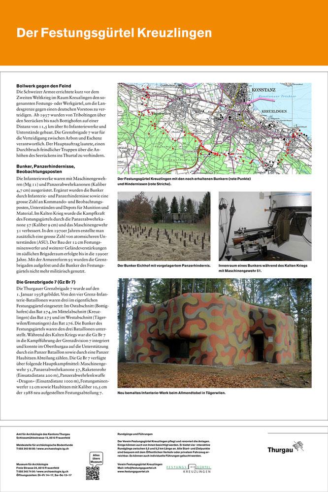 Infotafel des Amts für Archäologie beim Bunker Triboltingen