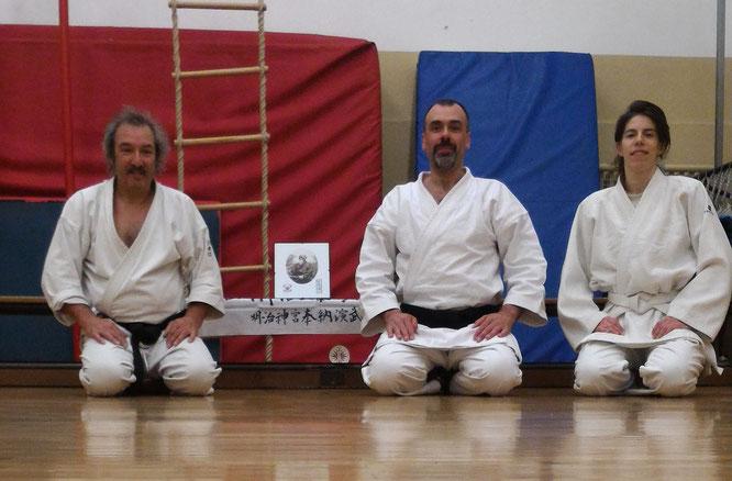 Il C.D. dell'Iwama Budo Kai a.s.d. - Da sx: Paolo Bertocchi, Enrico Neami e Silvia D'Arrigo