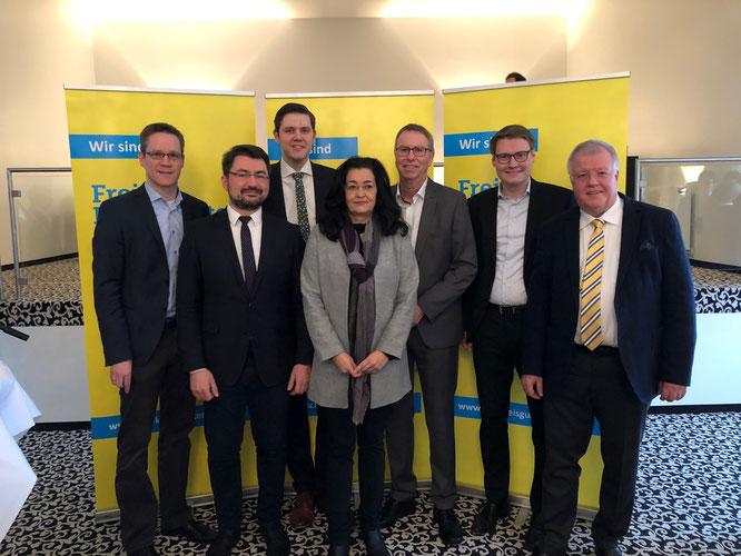 Thorsten Baumgart (stellv. Kreisvorsitzender), Christian Sauter (MdB), Patrick Büker (Kreisvorsitzender, Silke Wehmeier (stellv. Kreisvorsitzende), Harald Grefe (IHK), Moritz Körner (MdL), Dr. Ulrich Klotz (Europakandidat)