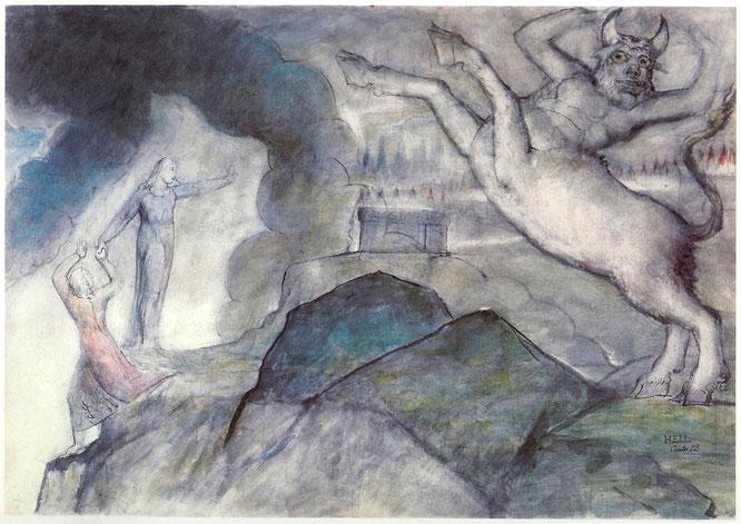 ウィリアム・ブレイクの『地獄』の挿絵に使われたミノタウロスのイメージ