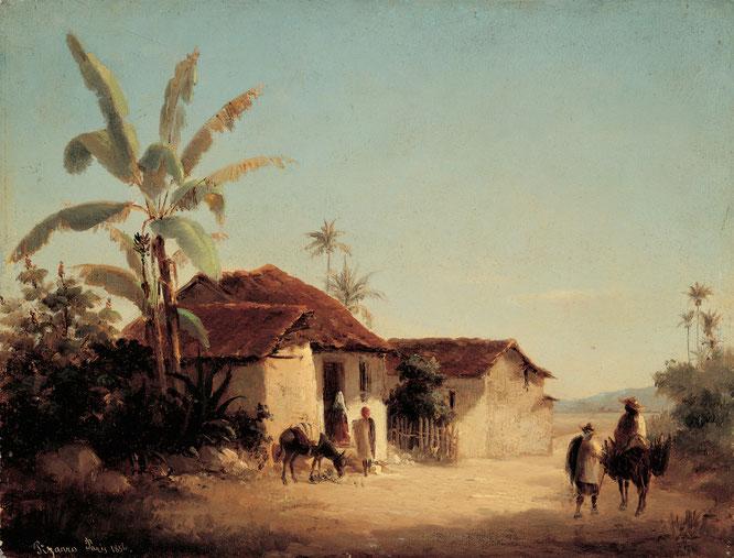 《農村住宅とヤシの木がある熱帯の風》1853年