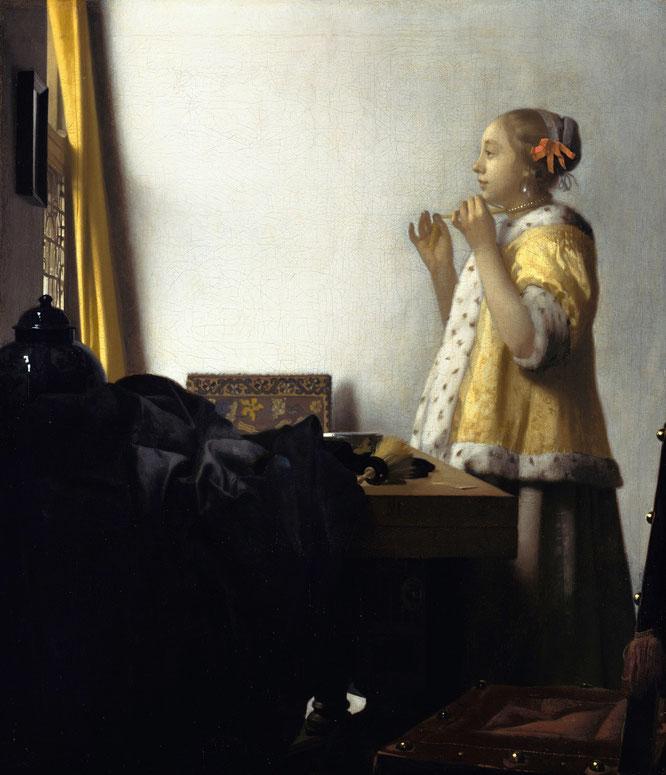 《真珠のネックレスを付けた女性》,1664年