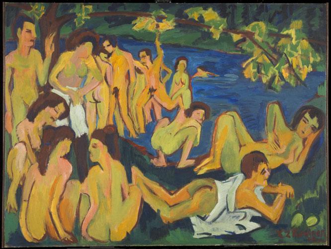 エルンスト・キルヒナー《モーリッツブルクの水浴者たち》1909年