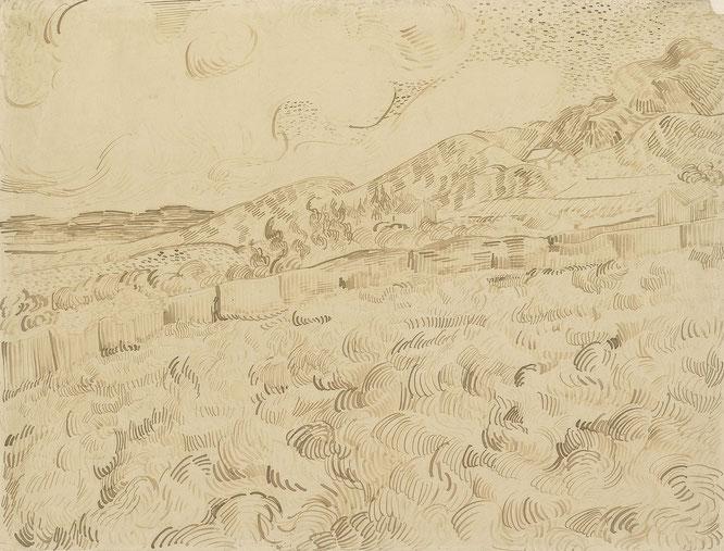 ヴィンセント・ヴァン・ゴッホ「嵐の後の小麦畑」(F1547)(1889年)
