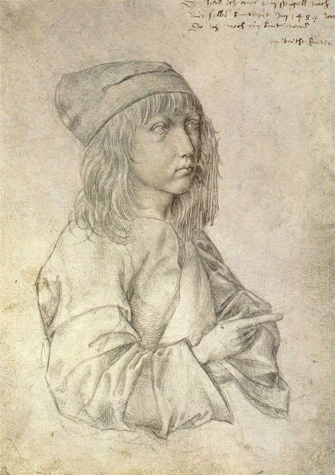 13歳のデューラーによる自画像銀点画,1484年