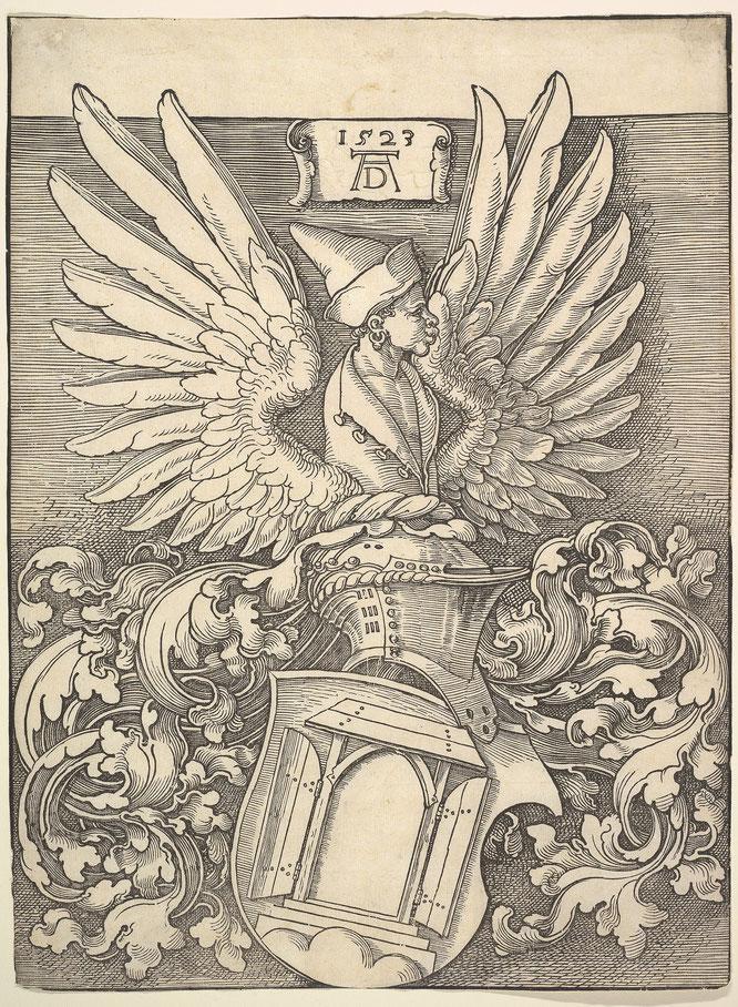 デューラーの紋章の木版画。自分の名前にちなんだ扉と、ムーア人の翼のある胸像が描かれている。。