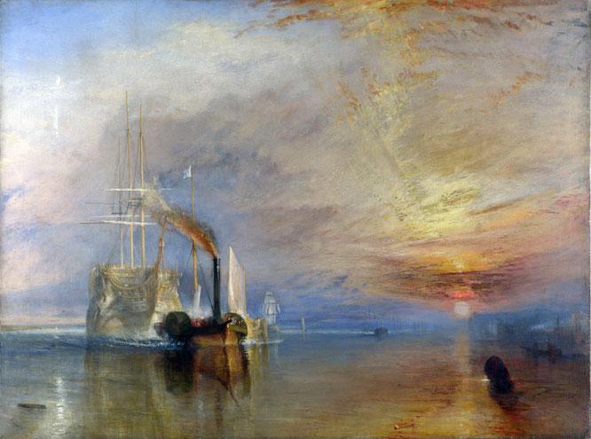 《解体されるために最後の停泊地に曳かれてゆく戦艦テメレール号》1838年