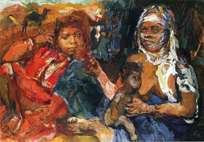 オスカー・ココシュカ『アラブの女性と子ども』(1929年)