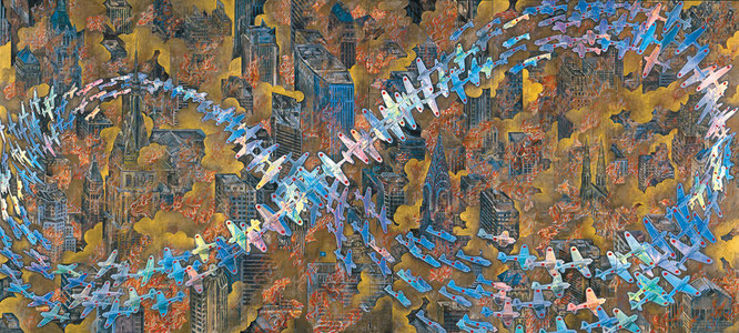 会田誠《紐育空爆之図(戦争画RETURNS)》1996年。MIZUMA ART GALLERYより。