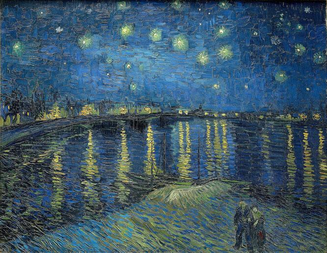 フィンセント・ファン・ゴッホ「ローヌ川の星月夜」(1888年)
