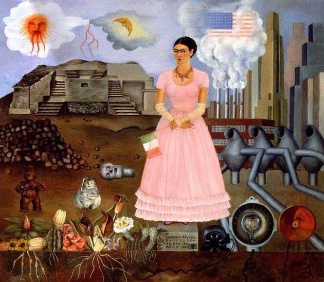 《メキシコとアメリカの国境上のセルフポートレイト》(1932年)
