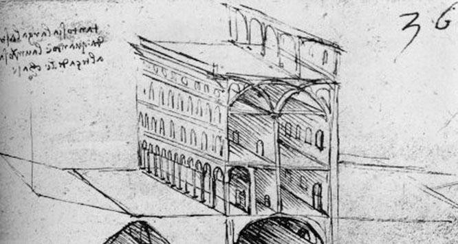 《運河計画》『パリ手稿B』より 1485-88年。