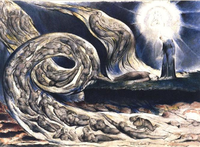 ダンテ『新曲』の挿絵《恋人たちの旋風》1826-1827年