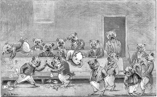 ルイス・ウェインの初期は猫より犬の方に関心があった。