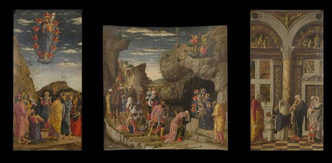 アンドレア・マンテーニャ《マギの礼拝》1462年。Wikipediaより。