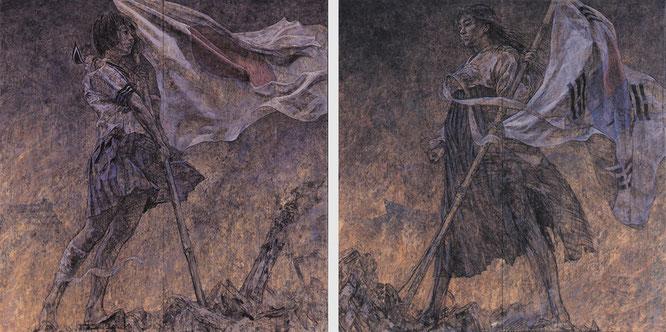 会田誠《美しい旗》1995年。MIZUMA ART GALLERYより。