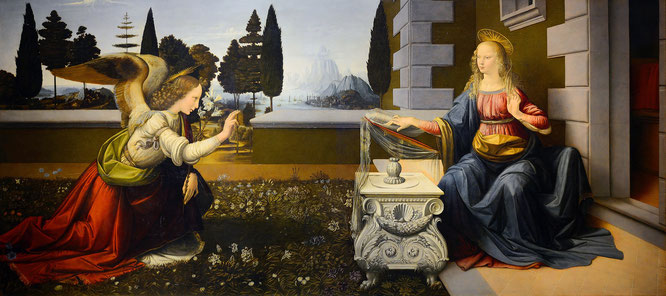 レオナルド・ダ・ヴィンチ《受胎告知》1472-1475年ころ。Wikipediaより。