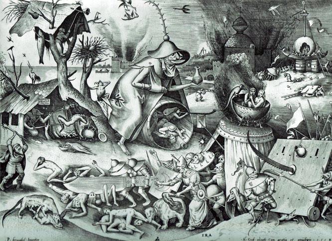 ブリューゲルによって設計され、ヒエロニムス・クックによって出版された版画『七つの大罪や七つの悪徳 - 怒り』,1558年