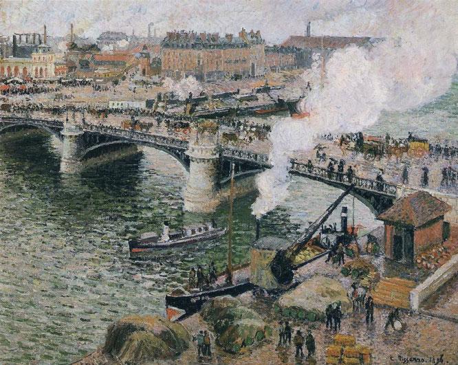 《雨の日:ルーアンのポントボーデリュー》1896年