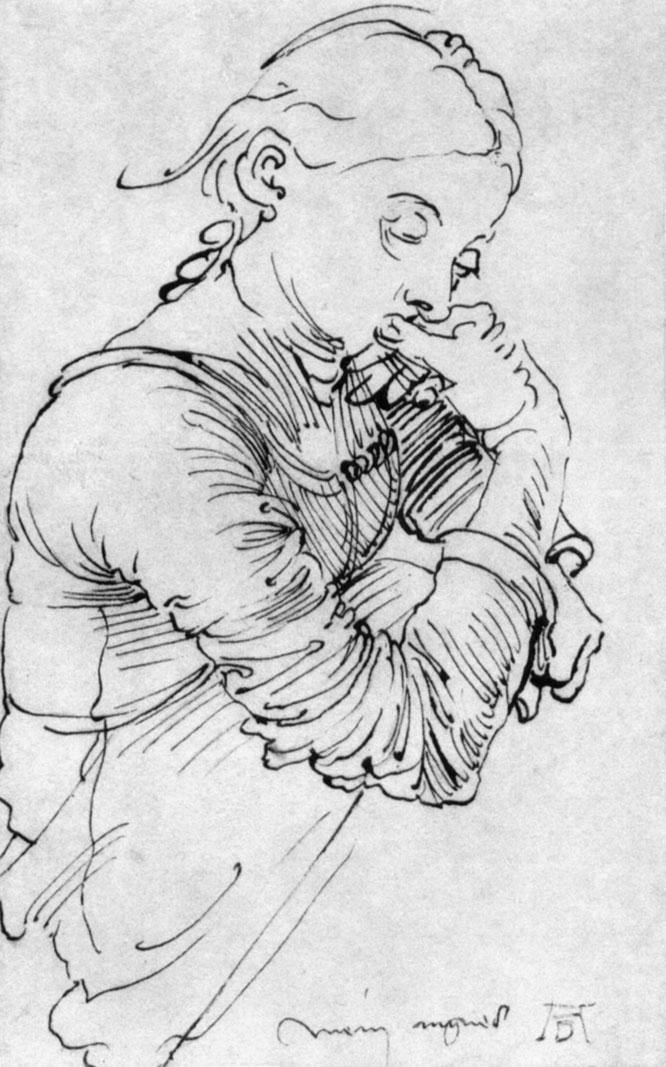 デュラーの妻アグネス・フレイのスケッチ,1494年
