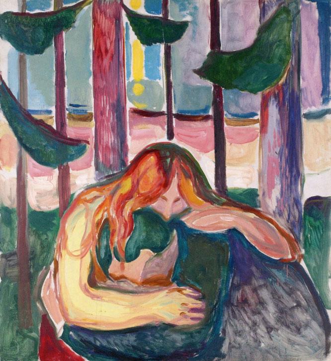 エドヴァルド・ムンク「森の中の吸血鬼」(1916-1918年)