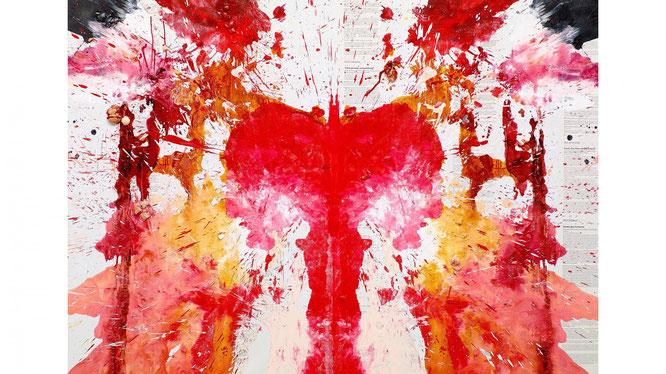 生成された抽象絵画を二つ折りにすると、なんと偶然にも子宮の絵に!