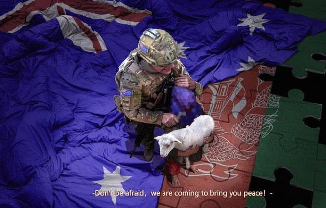 オーストラリア兵が子供の喉を切り裂くCG