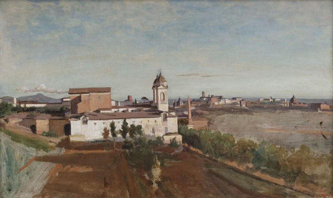 《La Trinité-des-Monts, seen from the Villa Medici》1825-1828