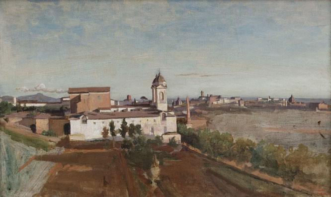 《La Trinité-des-Monts, seen from the Villa Medici》1825-1828