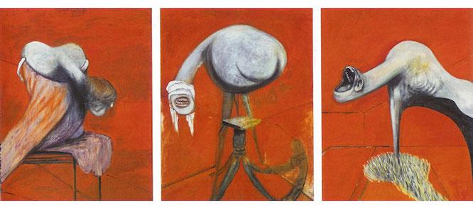 フランシス・ベーコン《キリスト磔刑図を基盤とした3つの人物画の習作》1944年,Wikipediaより